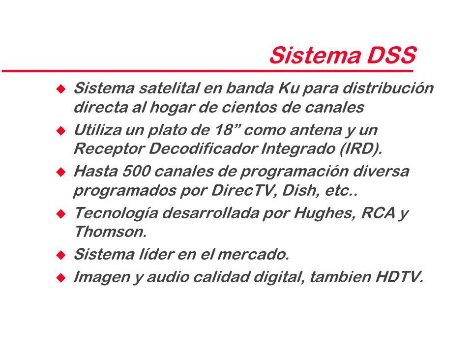Sistema DSS u Sistema satelital en banda Ku para distribución directa al hogar de cientos de canales u Utiliza un plato de 18 como antena y un Recepto