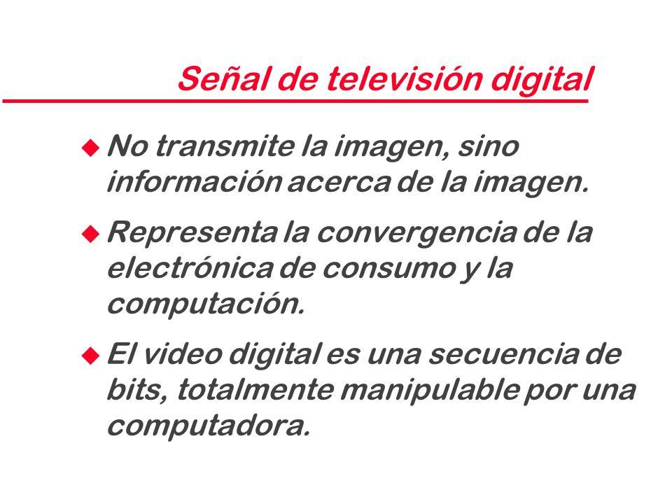 Señal de televisión digital u No transmite la imagen, sino información acerca de la imagen. u Representa la convergencia de la electrónica de consumo