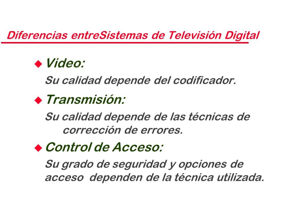 Diferencias entreSistemas de Televisión Digital u Video: Su calidad depende del codificador. u Transmisión: Su calidad depende de las técnicas de corr
