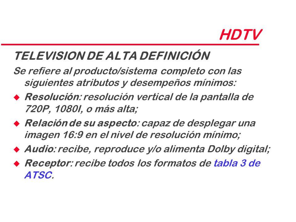 HDTV TELEVISION DE ALTA DEFINICIÓN Se refiere al producto/sistema completo con las siguientes atributos y desempeños mínimos: u Resolución: resolución