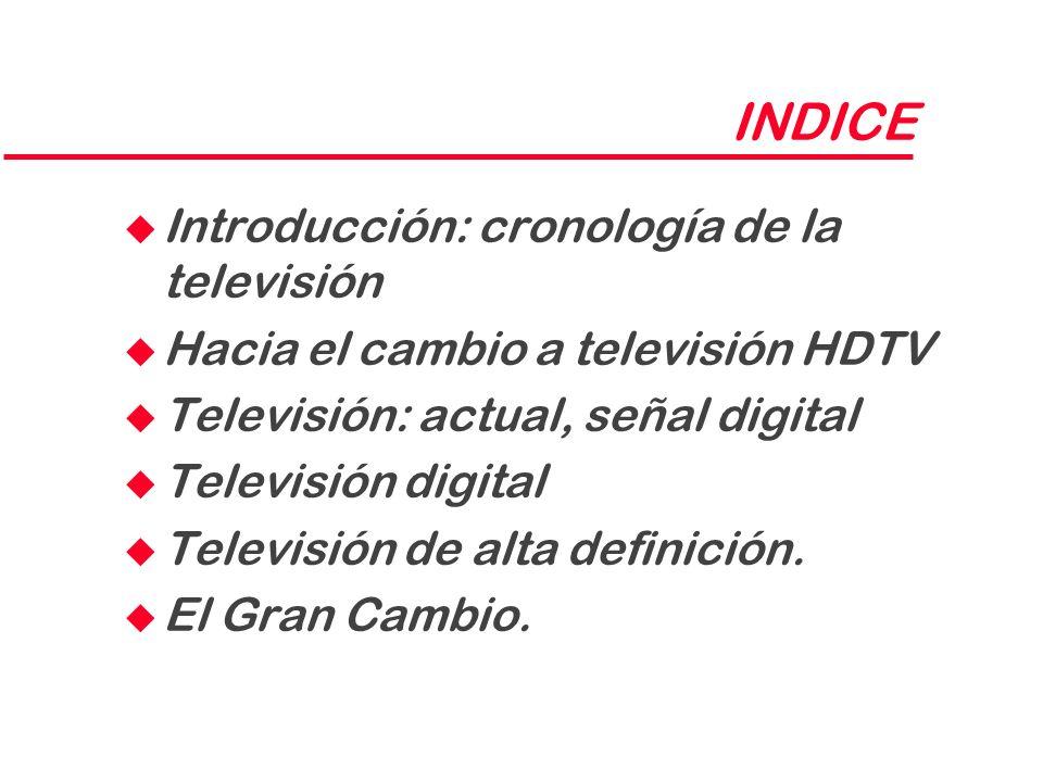 INDICE u Introducción: cronología de la televisión u Hacia el cambio a televisión HDTV u Televisión: actual, señal digital u Televisión digital u Tele
