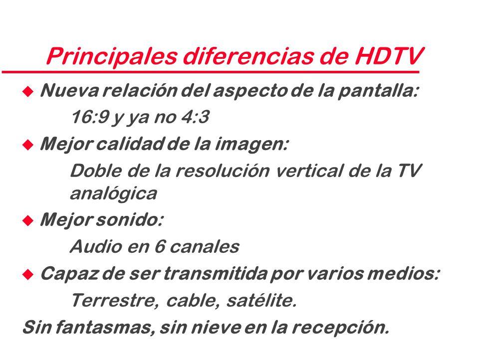 Principales diferencias de HDTV u Nueva relación del aspecto de la pantalla: 16:9 y ya no 4:3 u Mejor calidad de la imagen: Doble de la resolución ver