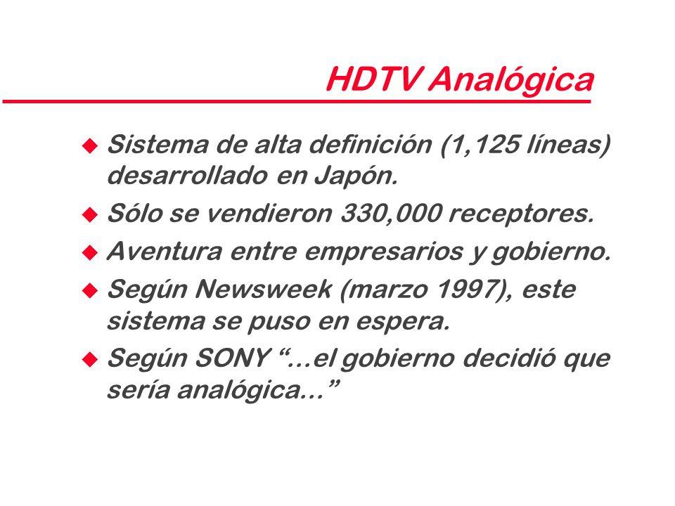 HDTV Analógica u Sistema de alta definición (1,125 líneas) desarrollado en Japón. u Sólo se vendieron 330,000 receptores. u Aventura entre empresarios