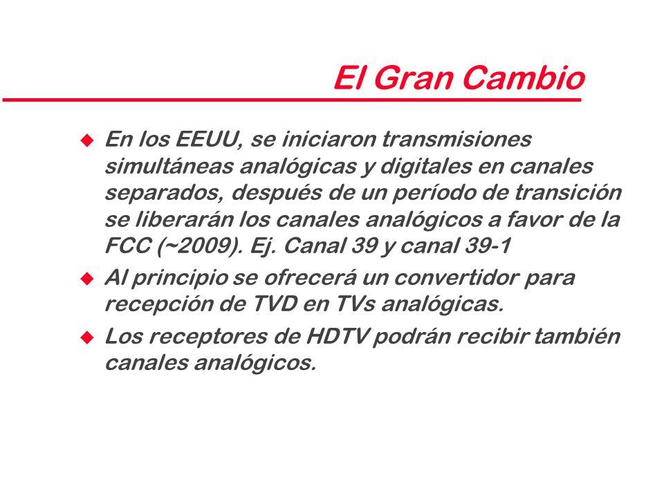 El Gran Cambio u En los EEUU, se iniciaron transmisiones simultáneas analógicas y digitales en canales separados, después de un período de transición