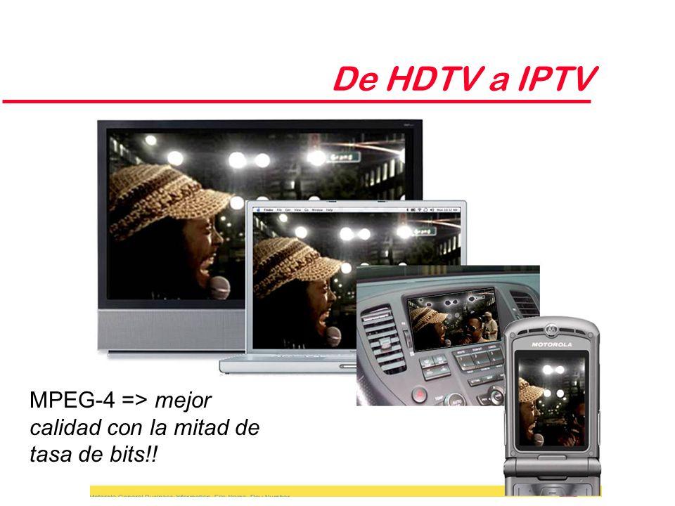 De HDTV a IPTV MPEG-4 => mejor calidad con la mitad de tasa de bits!!