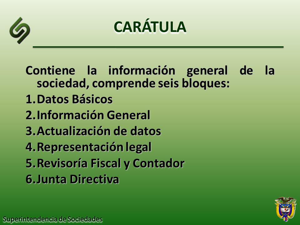 CARÁTULA Contiene la información general de la sociedad, comprende seis bloques: 1.Datos Básicos 2.Información General 3.Actualización de datos 4.Repr