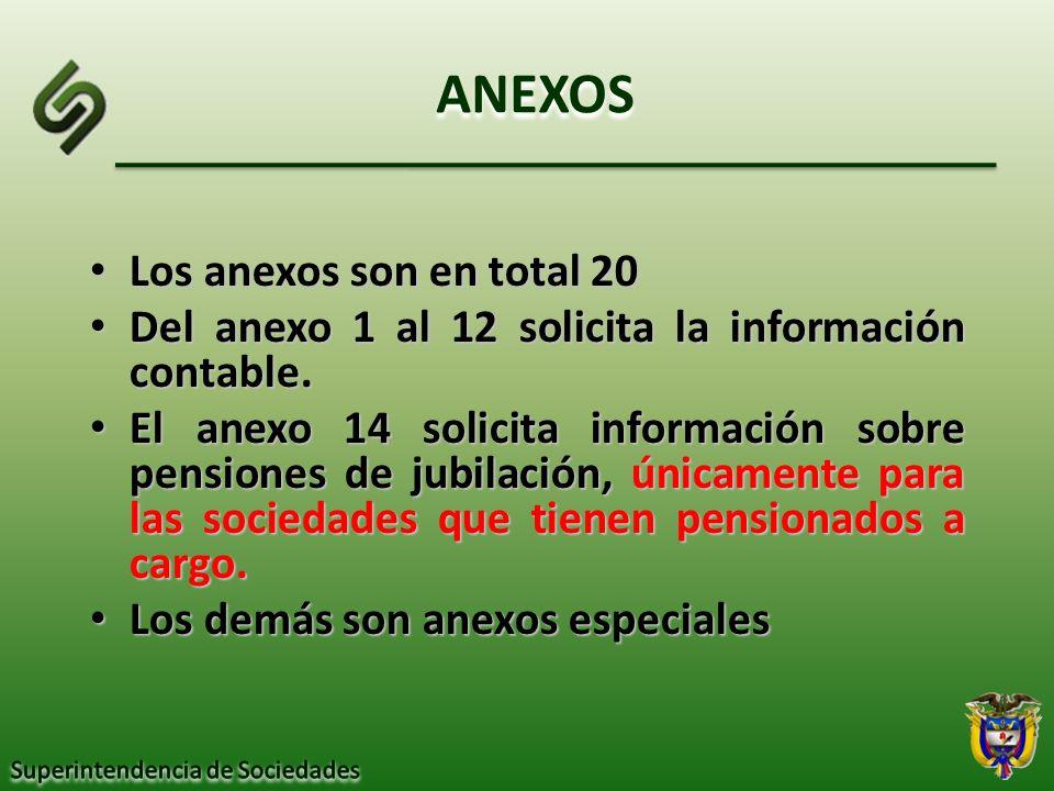 ANEXOS Los anexos son en total 20 Los anexos son en total 20 Del anexo 1 al 12 solicita la información contable. Del anexo 1 al 12 solicita la informa