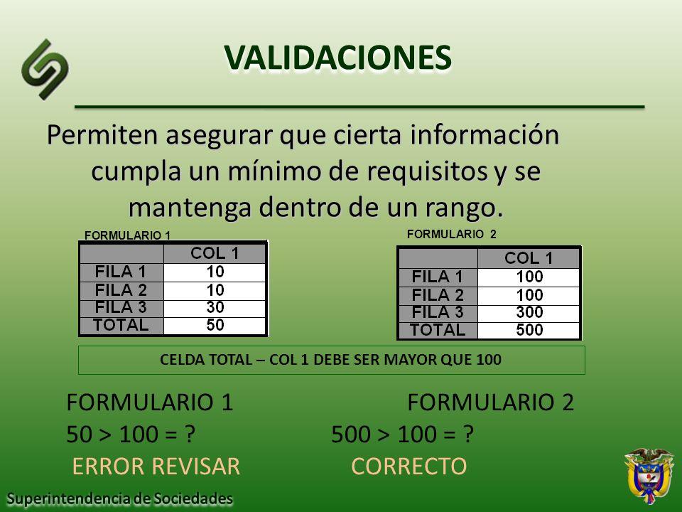 Permiten asegurar que cierta información cumpla un mínimo de requisitos y se mantenga dentro de un rango. VALIDACIONES CELDA TOTAL – COL 1 DEBE SER MA