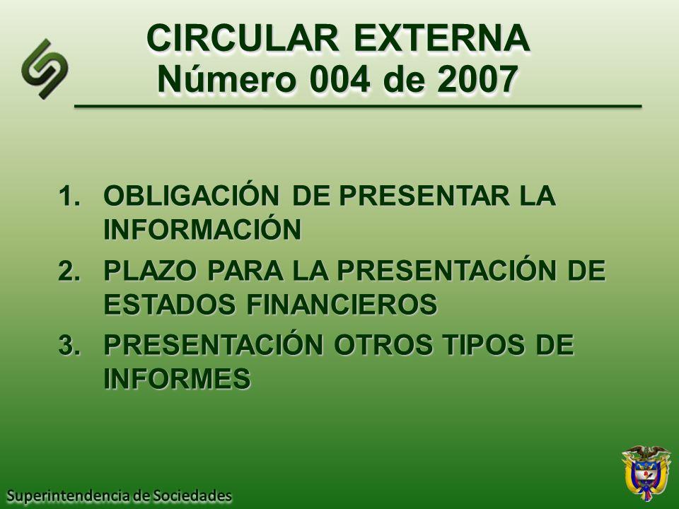 CIRCULAR EXTERNA Número 004 de 2007 1.OBLIGACIÓN DE PRESENTAR LA INFORMACIÓN 2.PLAZO PARA LA PRESENTACIÓN DE ESTADOS FINANCIEROS 3.PRESENTACIÓN OTROS