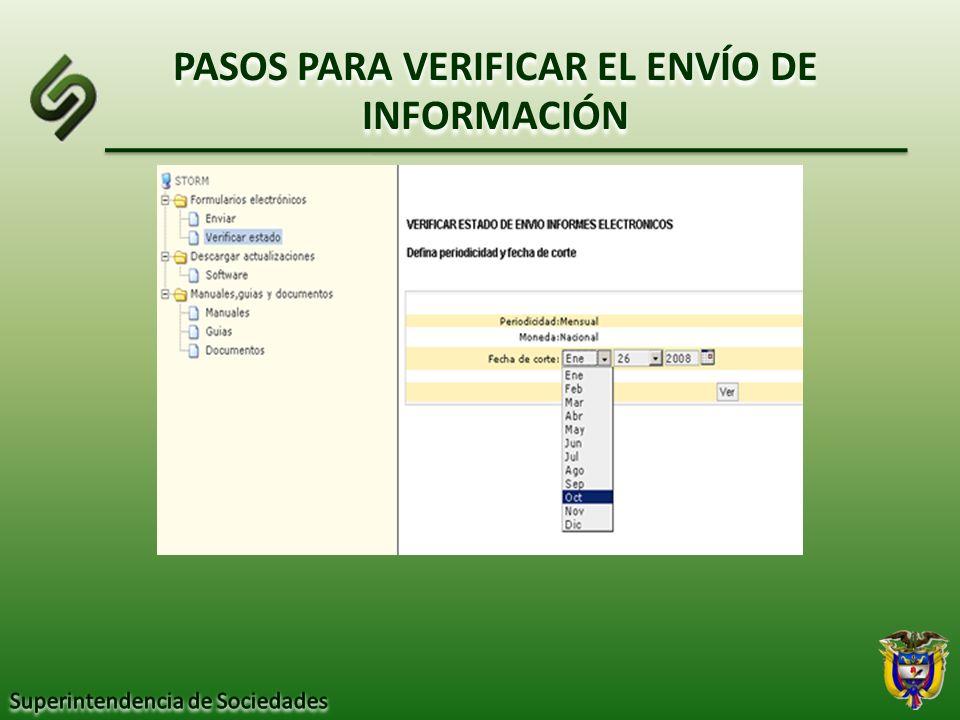 PASOS PARA VERIFICAR EL ENVÍO DE INFORMACIÓN