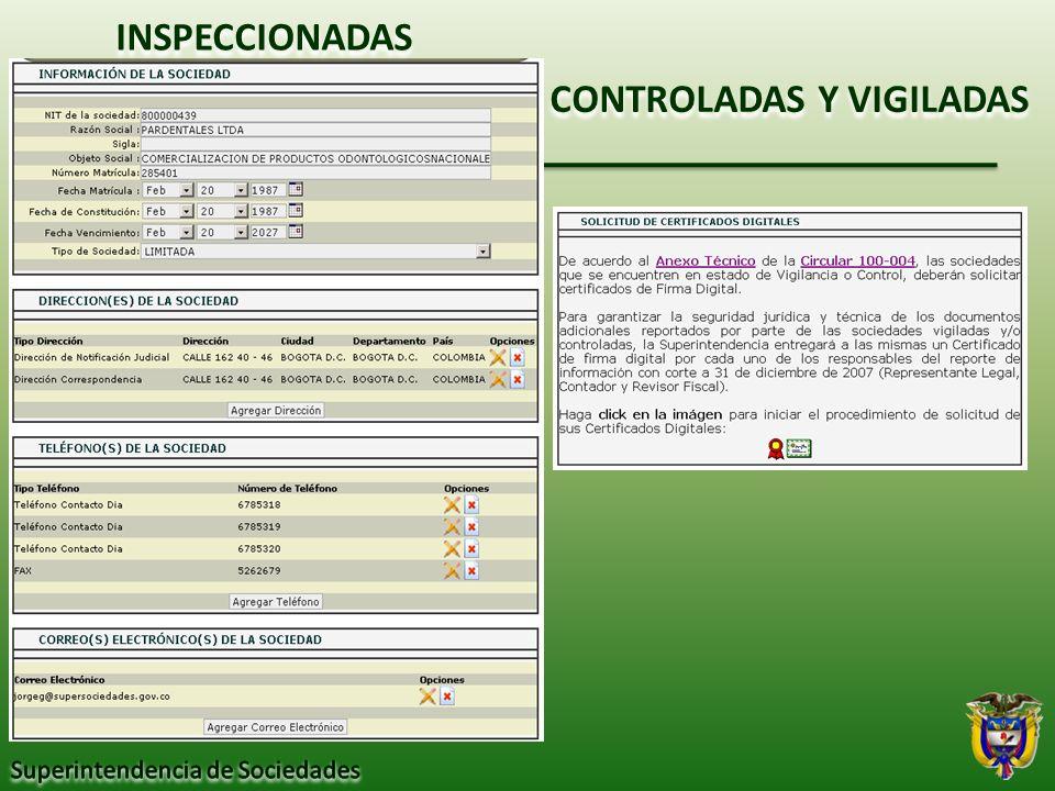 CONTROLADAS Y VIGILADAS INSPECCIONADAS