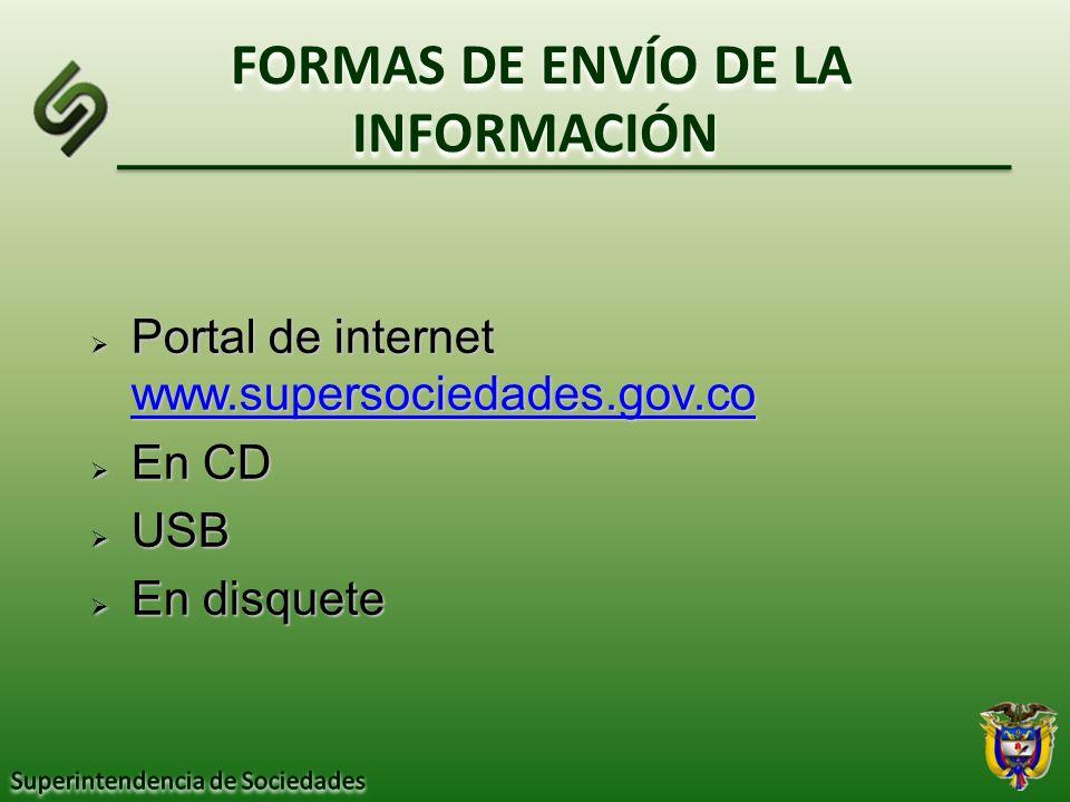 FORMAS DE ENVÍO DE LA INFORMACIÓN Portal de internet www.supersociedades.gov.co Portal de internet www.supersociedades.gov.co www.supersociedades.gov.