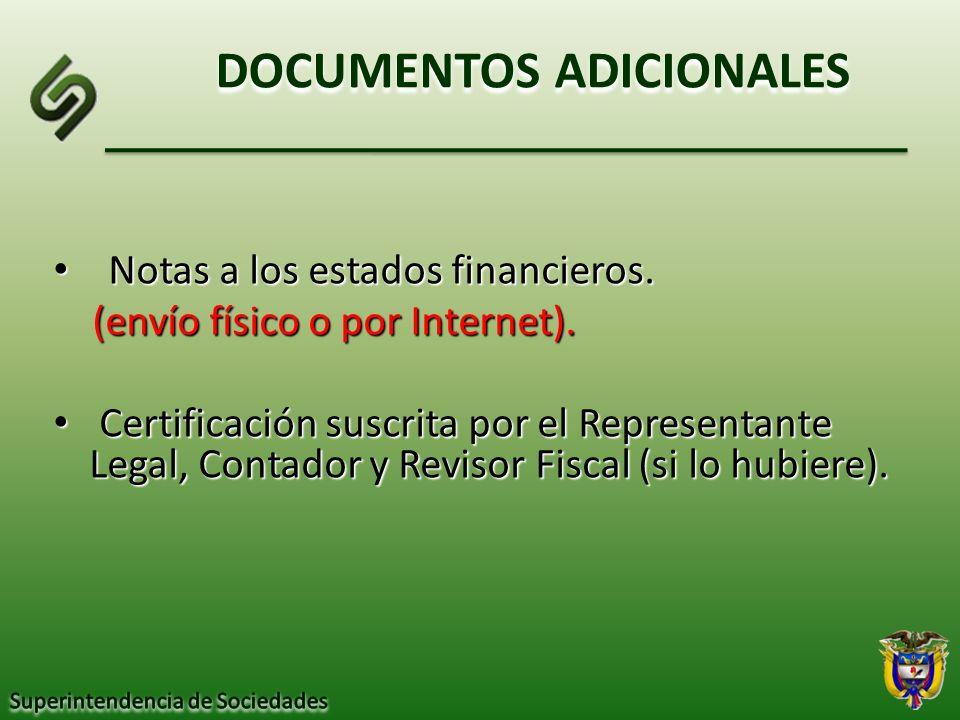 DOCUMENTOS ADICIONALES Notas a los estados financieros. Notas a los estados financieros. (envío físico o por Internet). (envío físico o por Internet).