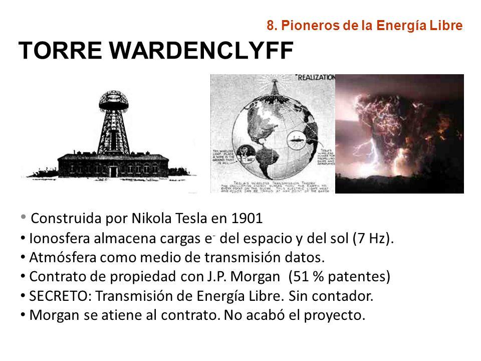 TORRE WARDENCLYFF Construida por Nikola Tesla en 1901 Ionosfera almacena cargas e - del espacio y del sol (7 Hz). Atmósfera como medio de transmisión