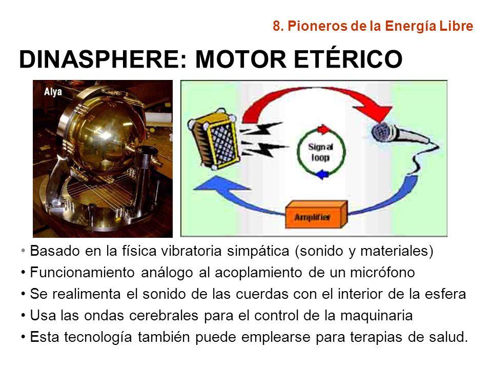DINASPHERE: MOTOR ETÉRICO Basado en la física vibratoria simpática (sonido y materiales) Funcionamiento análogo al acoplamiento de un micrófono Se rea