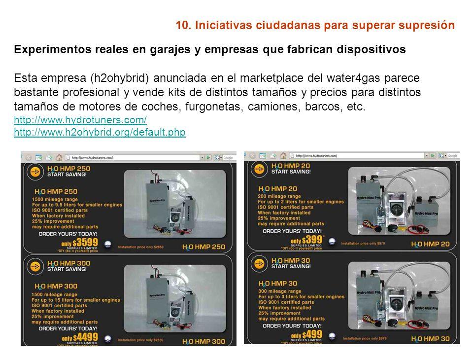 10. Iniciativas ciudadanas para superar supresión Experimentos reales en garajes y empresas que fabrican dispositivos Esta empresa (h2ohybrid) anuncia
