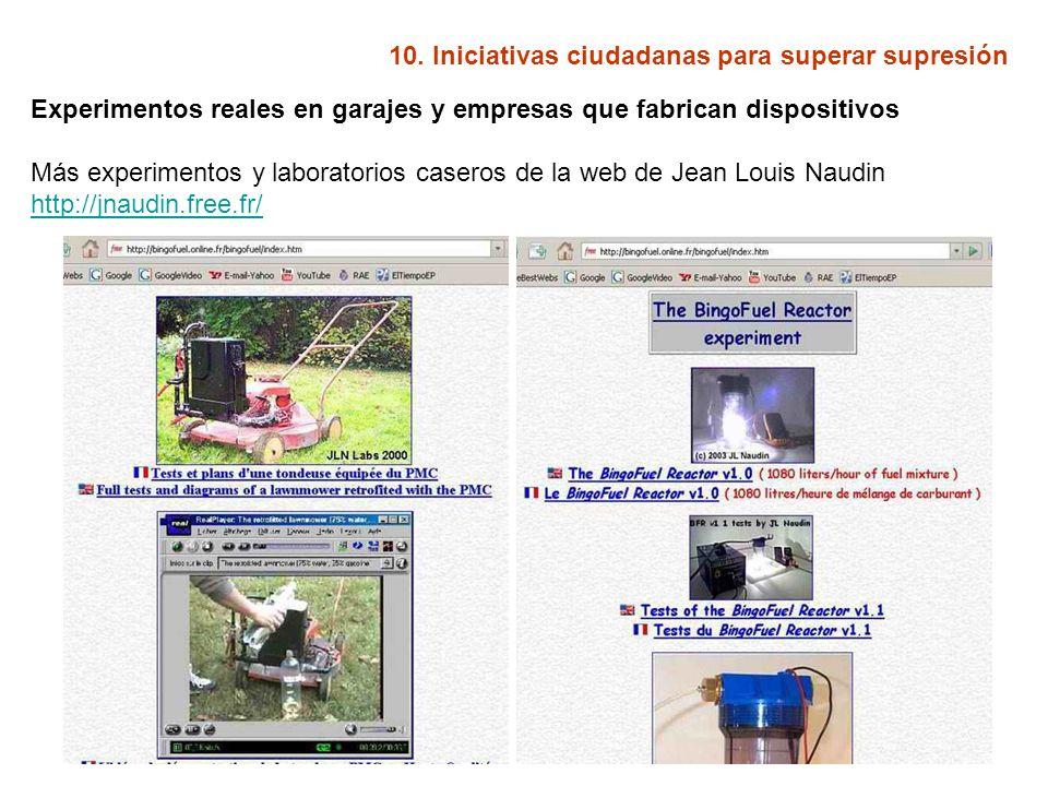 10. Iniciativas ciudadanas para superar supresión Experimentos reales en garajes y empresas que fabrican dispositivos Más experimentos y laboratorios