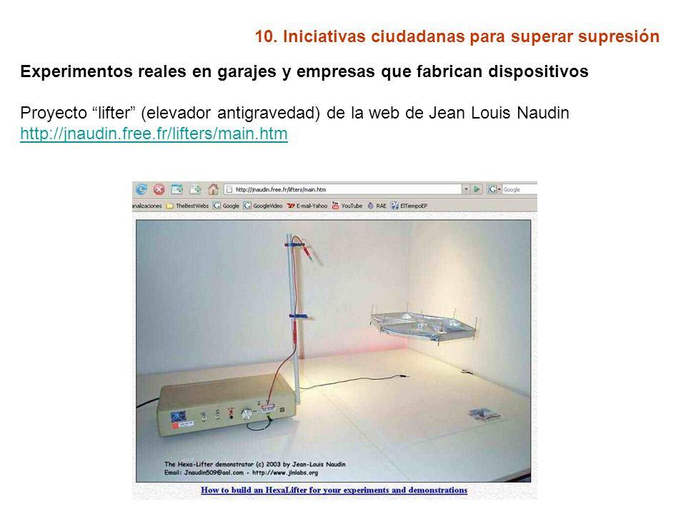 10. Iniciativas ciudadanas para superar supresión Experimentos reales en garajes y empresas que fabrican dispositivos Proyecto lifter (elevador antigr