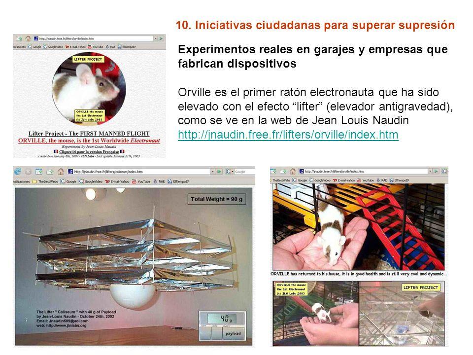 10. Iniciativas ciudadanas para superar supresión Experimentos reales en garajes y empresas que fabrican dispositivos Orville es el primer ratón elect