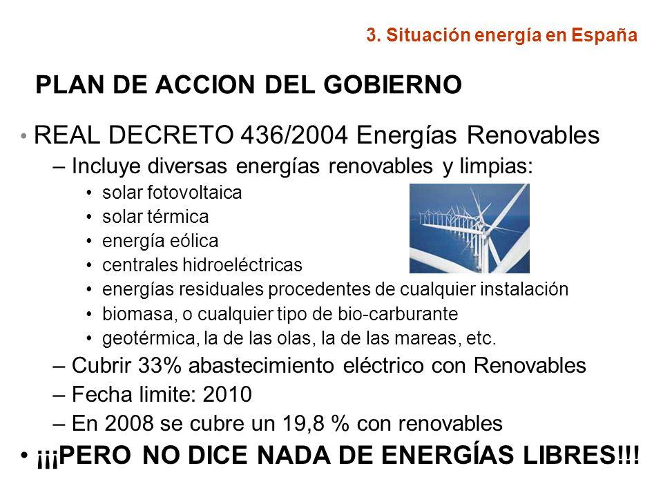 PLAN DE ACCION DEL GOBIERNO REAL DECRETO 436/2004 Energías Renovables – Incluye diversas energías renovables y limpias: solar fotovoltaica solar térmi