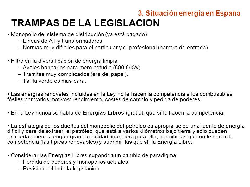 TRAMPAS DE LA LEGISLACION Monopolio del sistema de distribución (ya está pagado) – Líneas de AT y transformadores – Normas muy difíciles para el parti