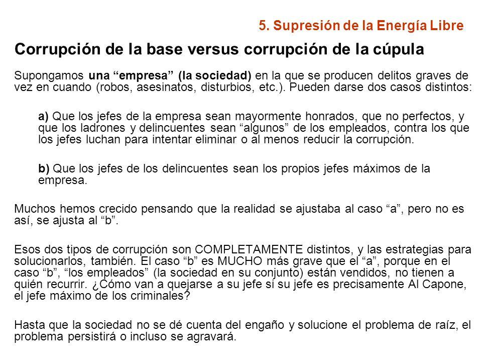 5. Supresión de la Energía Libre Corrupción de la base versus corrupción de la cúpula Supongamos una empresa (la sociedad) en la que se producen delit