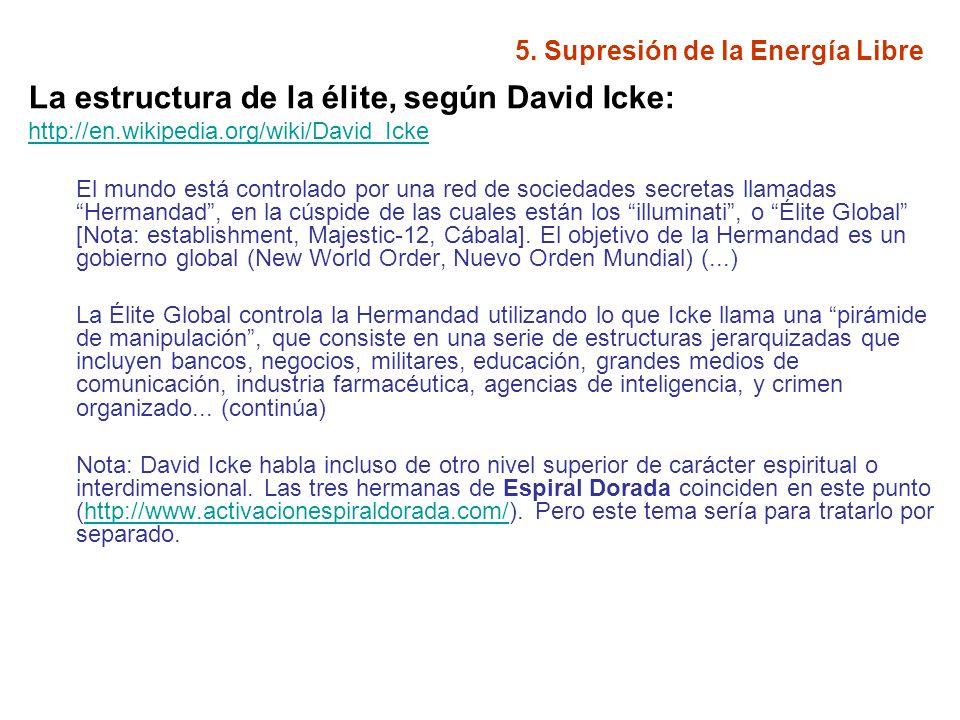 5. Supresión de la Energía Libre La estructura de la élite, según David Icke: http://en.wikipedia.org/wiki/David_Icke El mundo está controlado por una