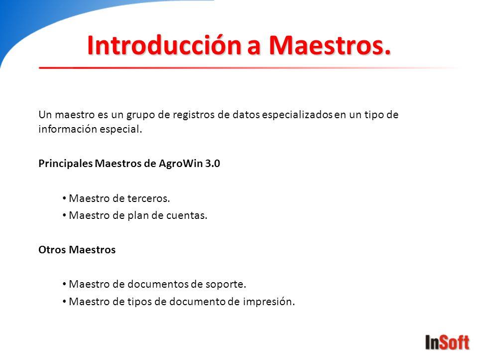 Introducción a Maestros. Un maestro es un grupo de registros de datos especializados en un tipo de información especial. Principales Maestros de AgroW