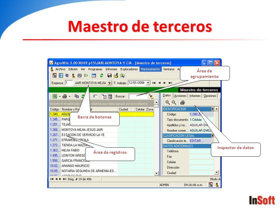 Maestro de terceros Área de registros Inspector de datos Barra de botones Área de agrupamiento