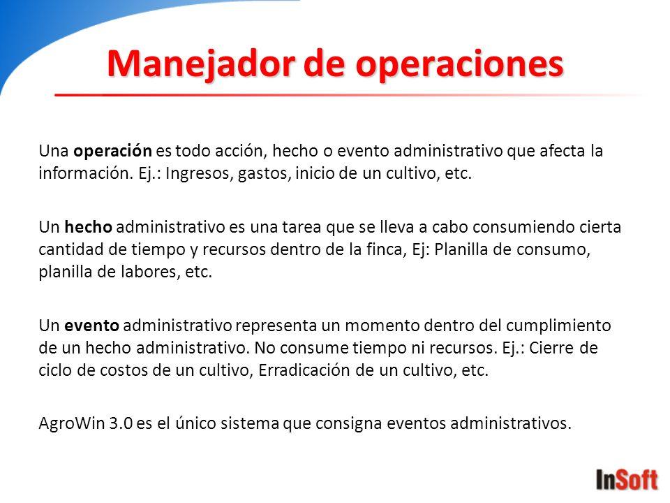 Una operación es todo acción, hecho o evento administrativo que afecta la información. Ej.: Ingresos, gastos, inicio de un cultivo, etc. Un hecho admi