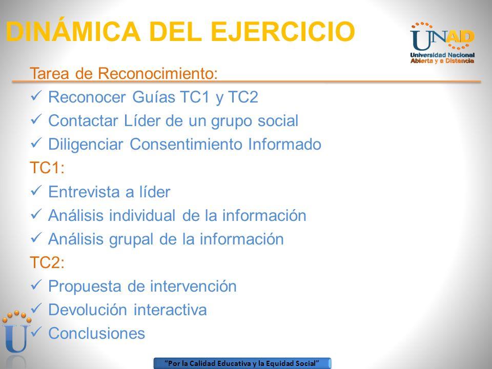 Por la Calidad Educativa y la Equidad Social DINÁMICA DEL EJERCICIO Tarea de Reconocimiento: Reconocer Guías TC1 y TC2 Contactar Líder de un grupo soc