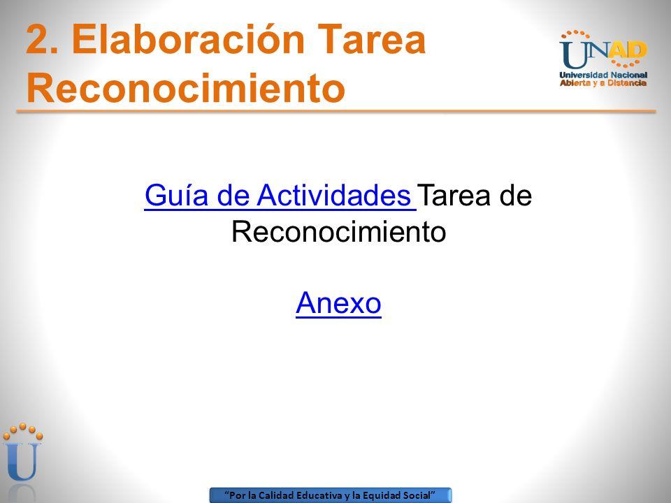 Por la Calidad Educativa y la Equidad Social 2. Elaboración Tarea Reconocimiento Guía de Actividades Guía de Actividades Tarea de Reconocimiento Anexo