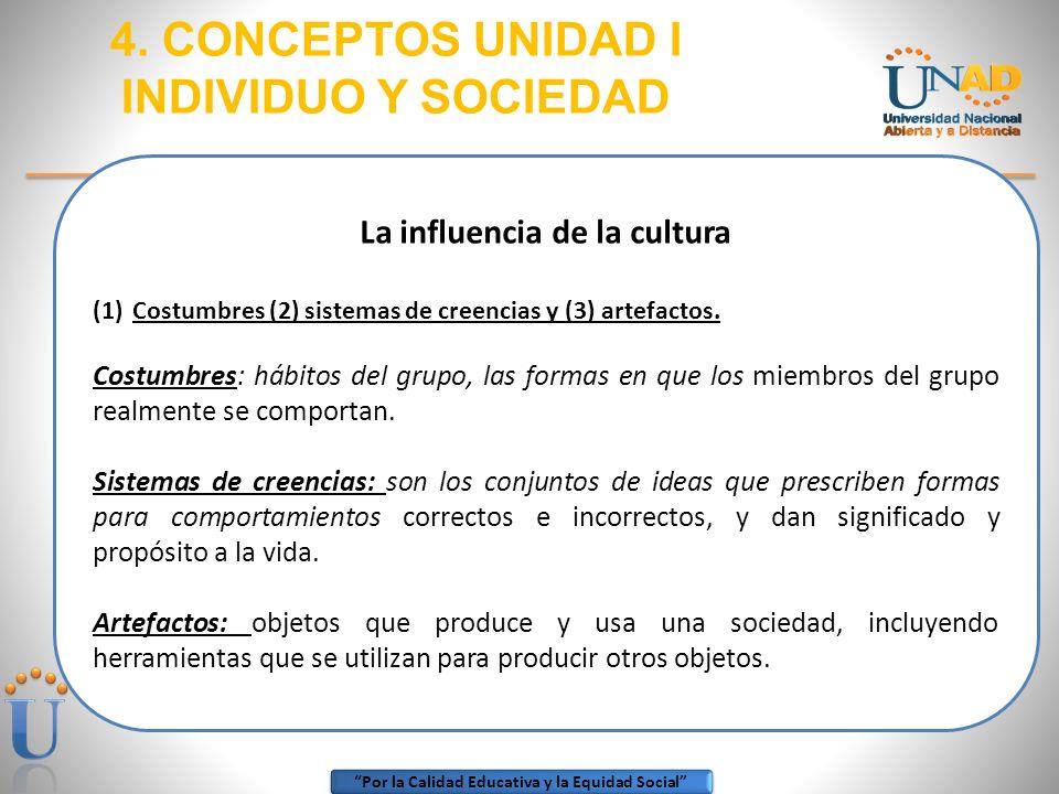 Por la Calidad Educativa y la Equidad Social 4. CONCEPTOS UNIDAD I INDIVIDUO Y SOCIEDAD La influencia de la cultura (1)Costumbres (2) sistemas de cree