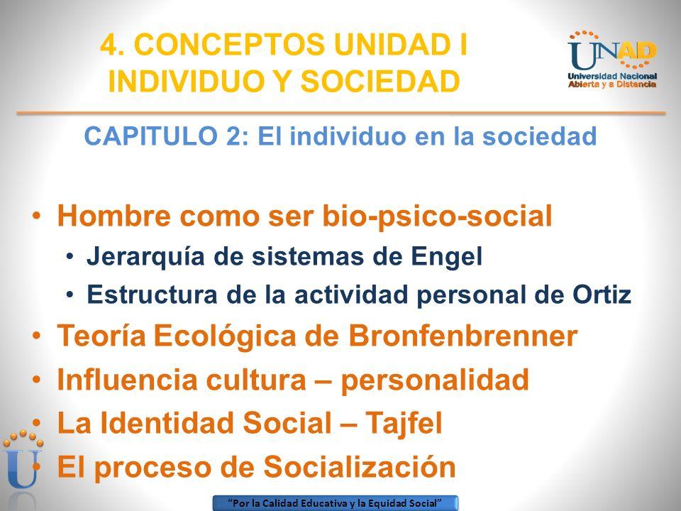 Por la Calidad Educativa y la Equidad Social CAPITULO 2: El individuo en la sociedad Hombre como ser bio-psico-social Jerarquía de sistemas de Engel E