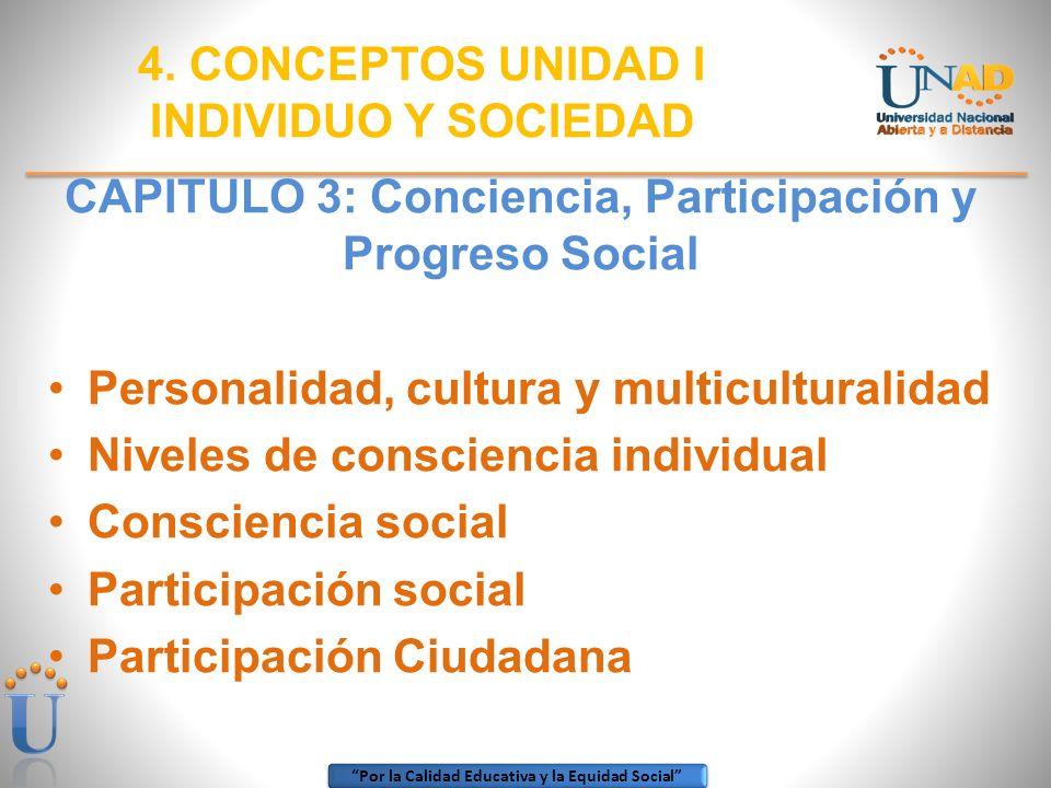 Por la Calidad Educativa y la Equidad Social CAPITULO 3: Conciencia, Participación y Progreso Social Personalidad, cultura y multiculturalidad Niveles