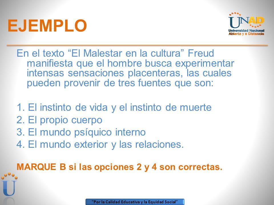 Por la Calidad Educativa y la Equidad Social EJEMPLO En el texto El Malestar en la cultura Freud manifiesta que el hombre busca experimentar intensas