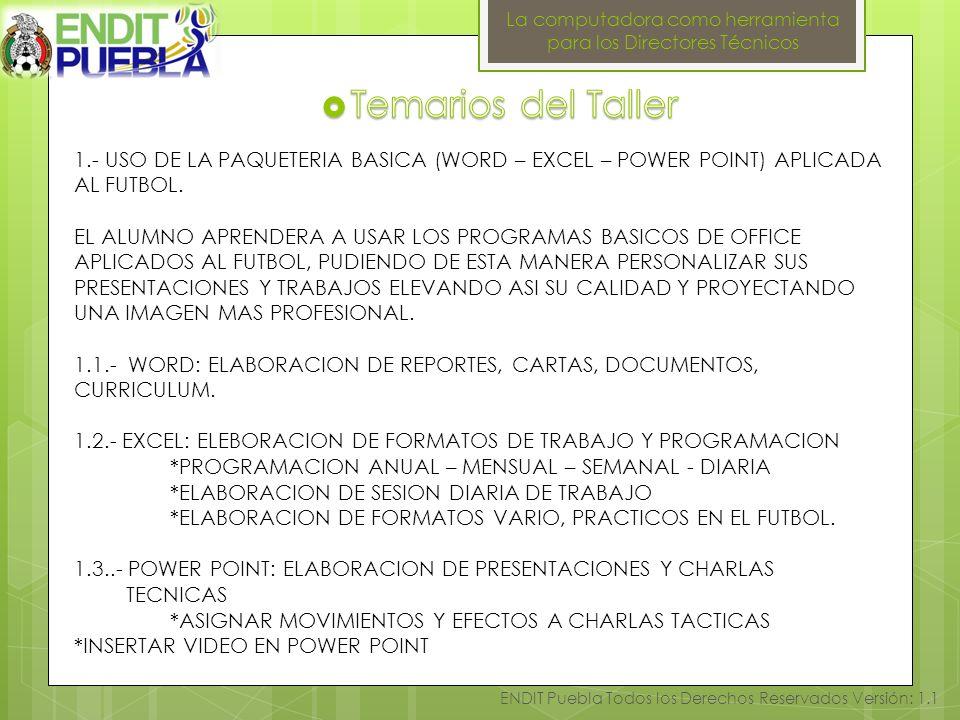 La computadora como herramienta para los Directores Técnicos ENDIT Puebla Todos los Derechos Reservados Versión: 1.1 1.- USO DE LA PAQUETERIA BASICA (WORD – EXCEL – POWER POINT) APLICADA AL FUTBOL.