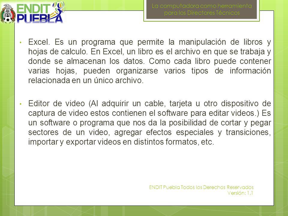 La computadora como herramienta para los Directores Técnicos 31 HERNANDEZ 37 CAMPOS 46 CORREA 45 HUERTA 89 ALVAREZ 61 BELTRAN 62 DOMINGUEZ 59 MARTINEZ 33 RIVAS 35 VALENZUELA 50 SANCHEZ ENDIT Puebla Todos los Derechos Reservados Versión: 1.1