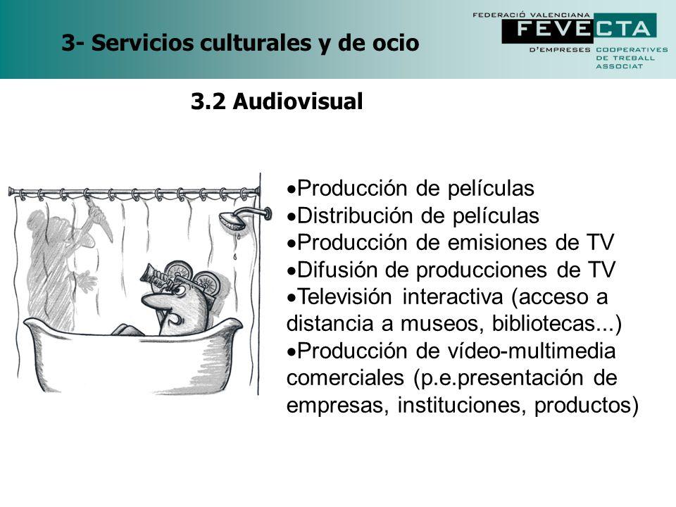 3- Servicios culturales y de ocio Producción de películas Distribución de películas Producción de emisiones de TV Difusión de producciones de TV Telev