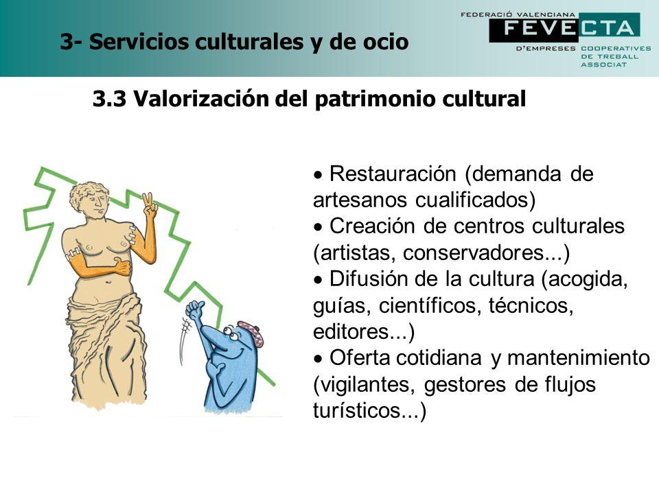 3- Servicios culturales y de ocio Restauración (demanda de artesanos cualificados) Creación de centros culturales (artistas, conservadores...) Difusió