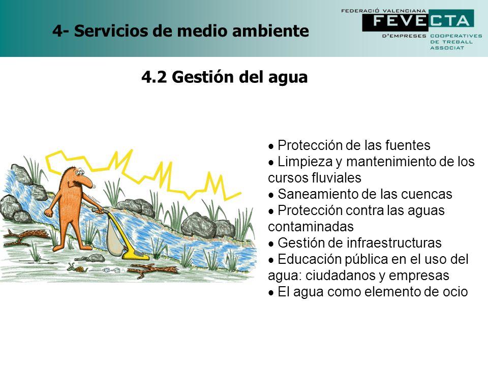 4- Servicios de medio ambiente Protección de las fuentes Limpieza y mantenimiento de los cursos fluviales Saneamiento de las cuencas Protección contra