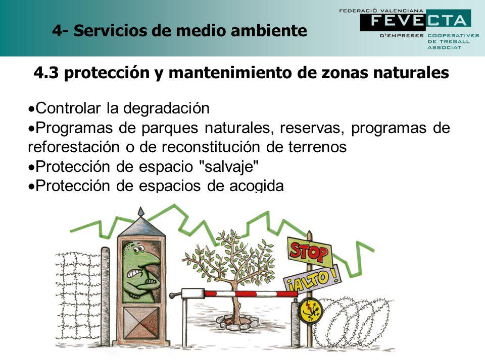 4- Servicios de medio ambiente Controlar la degradación Programas de parques naturales, reservas, programas de reforestación o de reconstitución de te