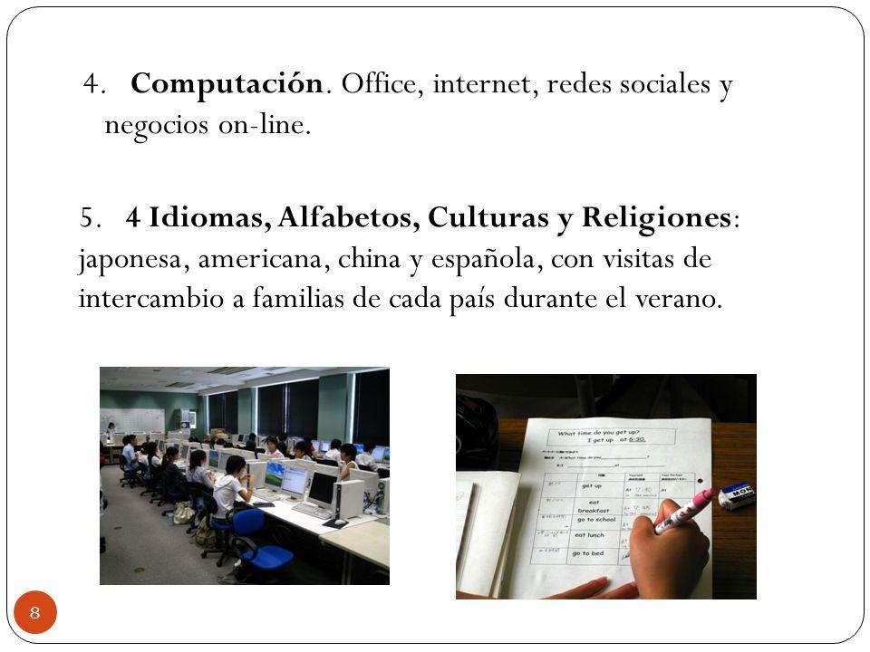 4. Computación. Office, internet, redes sociales y negocios on-line. 5. 4 Idiomas, Alfabetos, Culturas y Religiones: japonesa, americana, china y espa