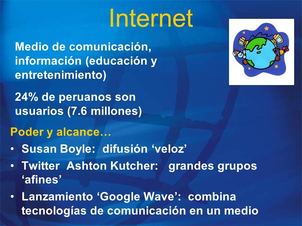 Internet Poder y alcance… Susan Boyle: difusión veloz Twitter Ashton Kutcher: grandes grupos afines Lanzamiento Google Wave: combina tecnologías de co