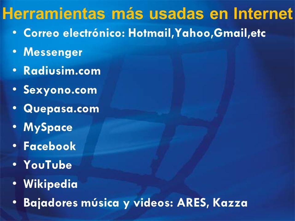Herramientas más usadas en Internet Correo electrónico: Hotmail,Yahoo,Gmail,etc Messenger Radiusim.com Sexyono.com Quepasa.com MySpace Facebook YouTub