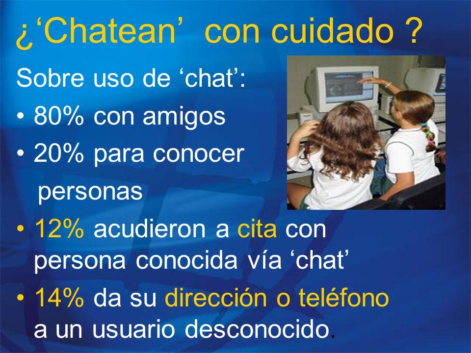 ¿Chatean con cuidado ? Sobre uso de chat: 80% con amigos 20% para conocer personas 12% acudieron a cita con persona conocida vía chat 14% da su direcc