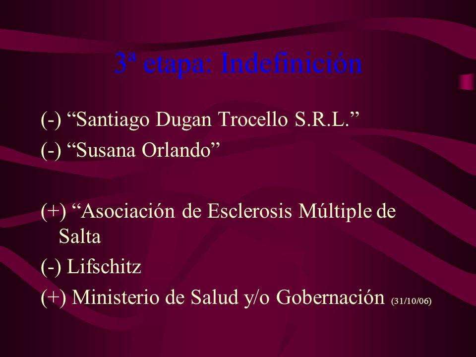 3ª etapa: Indefinición (-) Santiago Dugan Trocello S.R.L. (-) Susana Orlando (+) Asociación de Esclerosis Múltiple de Salta (-) Lifschitz (+) Minister