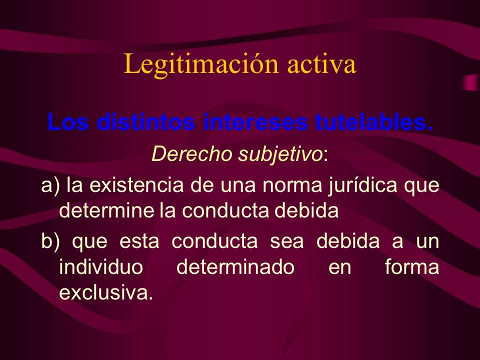 Legitimación activa Los distintos intereses tutelables. Derecho subjetivo: a) la existencia de una norma jurídica que determine la conducta debida b)