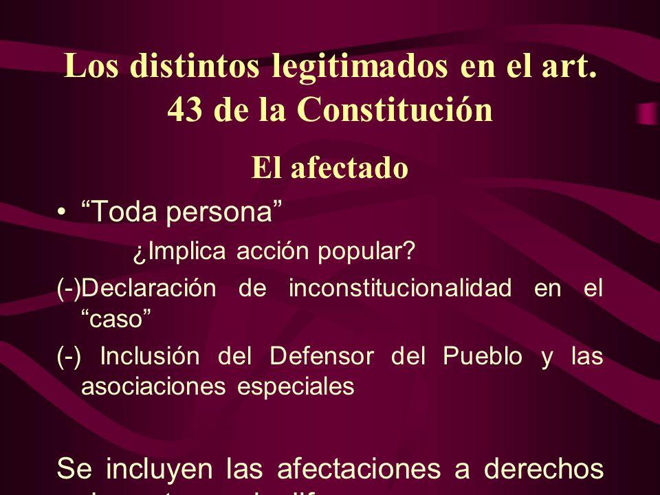 Los distintos legitimados en el art. 43 de la Constitución El afectado Toda persona ¿Implica acción popular? (-)Declaración de inconstitucionalidad en