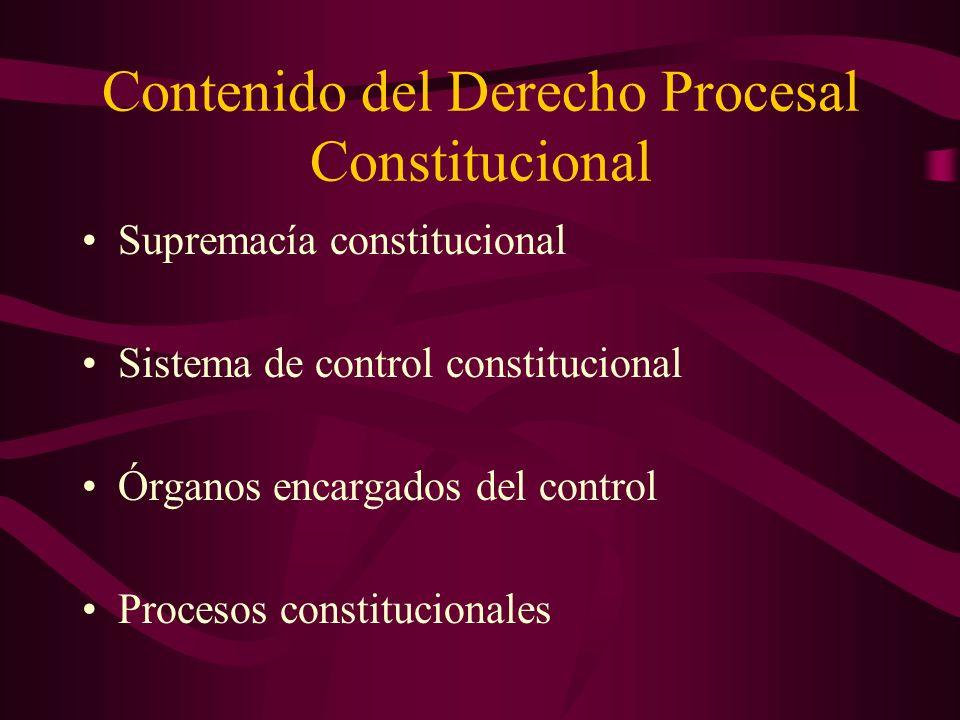 Contenido del Derecho Procesal Constitucional Supremacía constitucional Sistema de control constitucional Órganos encargados del control Procesos cons